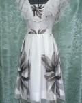 Платье двуслойное из тканей компаньонов шифона и атласа