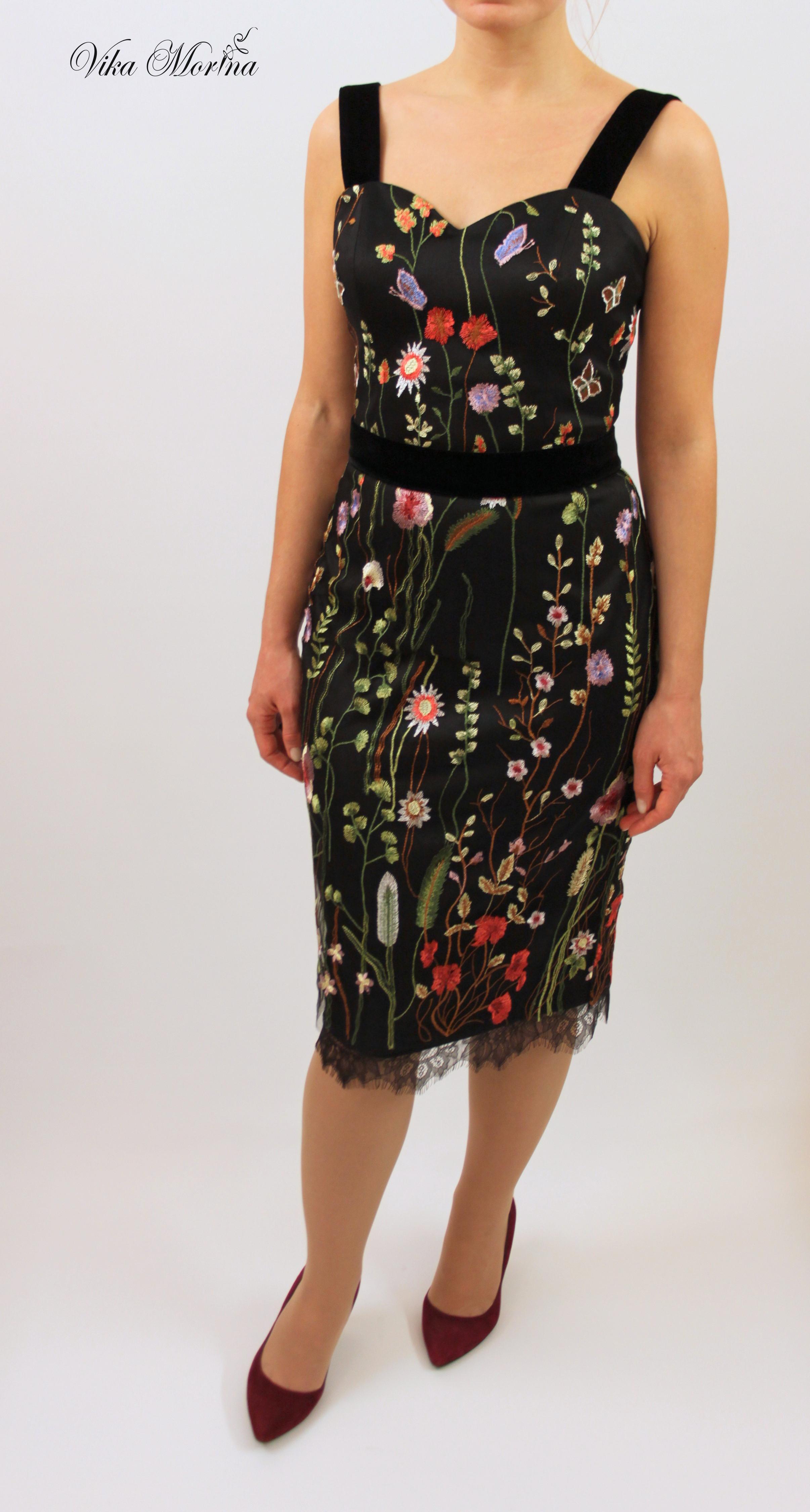 Платье вышивка на сетке 10